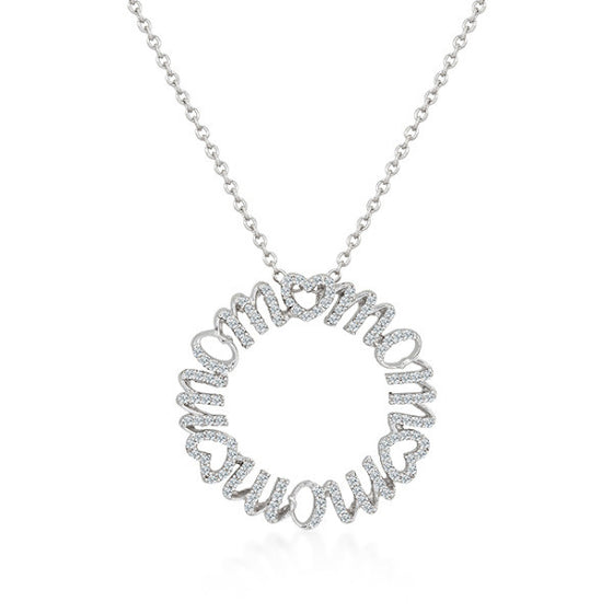 Mara 2ct CZ White Gold Rhodium Circle Mom Pendant