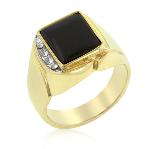 0.1ct CZ 18k Gold Onyx Statement Men's Ring