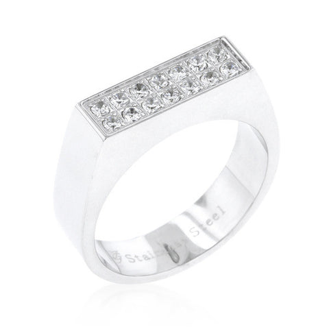 0.1ct CZ Stainless Steel Men's Ring