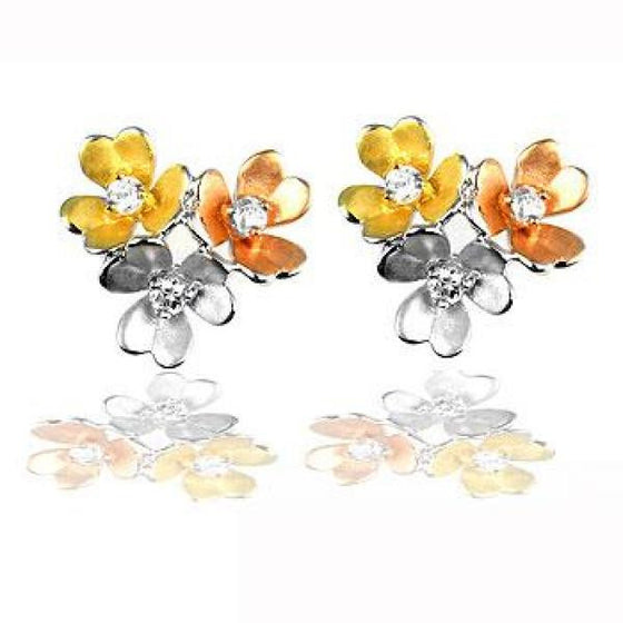 Ciara 0.9ct CZ White Gold Rhodium Floral Cluster Earrings