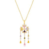 Goldtone Multi-Color Dangle Pendant