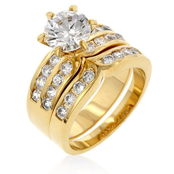 Formal Goldtone Engagement Set