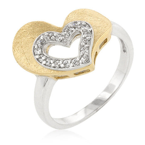 Two-tone Finishd Cubic Zirconia Heart Ring