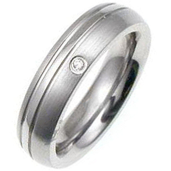 Classic Cubic Zirconia Stainless Steel Ring