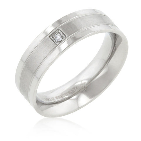 0.6ct CZ Stainless Steel Solitaire Men's Ring