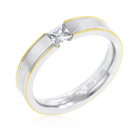 Tension Set Solitaire Stainless Steel Ring
