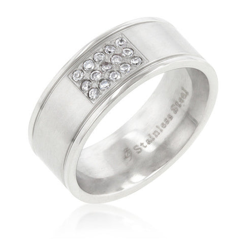 0.9ct CZ Stainless Steel Pave 15-Stone Men's Ring