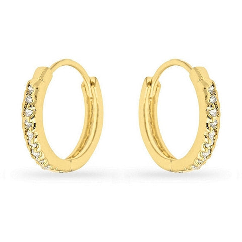 Missy 0.3ct CZ 14k Gold Mini Hoop Earrings