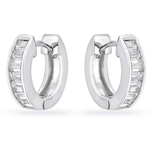 Ashlee 0.8ct CZ White Gold Rhodium Channel Set Hoop Earrings