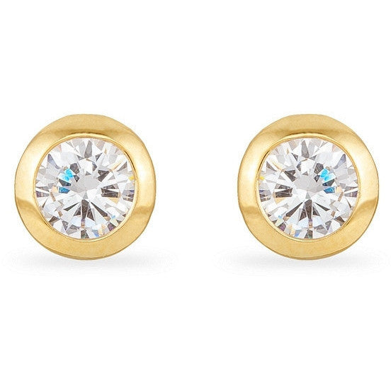 Kerry 2ct CZ 14k Gold Stud Earrings