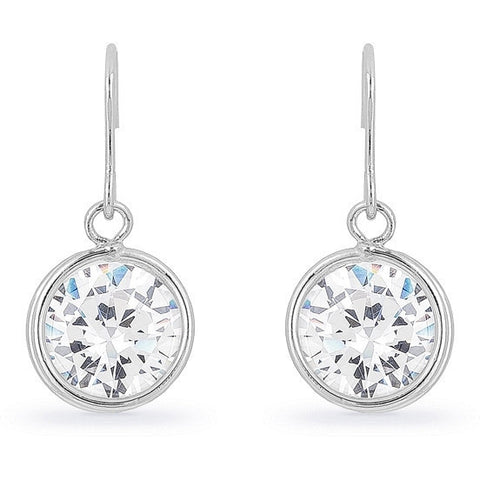 Calista 5ct CZ White Gold Rhodium Drop Earrings