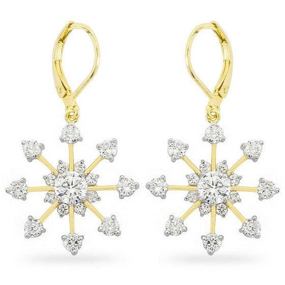 Jana 6ct CZ 14k Gold Snowflake Earrings