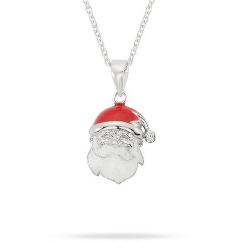 Santa 0.2ct CZ White Gold Rhodium Enamel Pendant Necklace