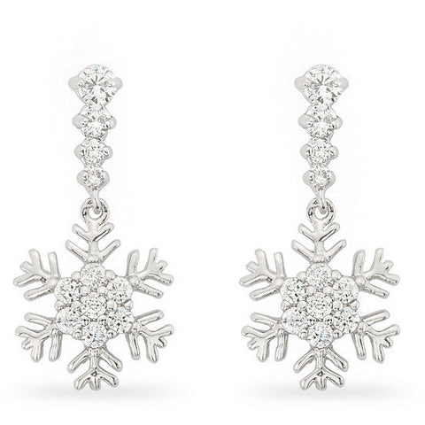 Holly 0.8ct CZ White Gold Rhodium Snowflake Drop Earrings