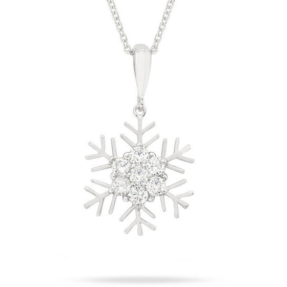 Holly 0.5ct CZ White Gold Rhodium Snowflake Drop Necklace