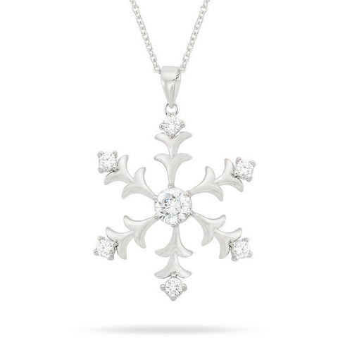 Natala 3.5ct CZ White Gold Rhodium Snowflake Drop Pendant