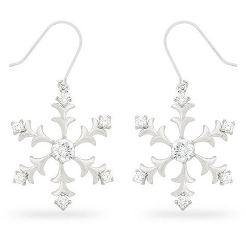 Natalia 6ct CZ White Gold Rhodium Snowflake Drop Earrings