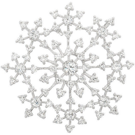Natalia 8.8ct CZ White Gold Rhodium Snowflake Brooch
