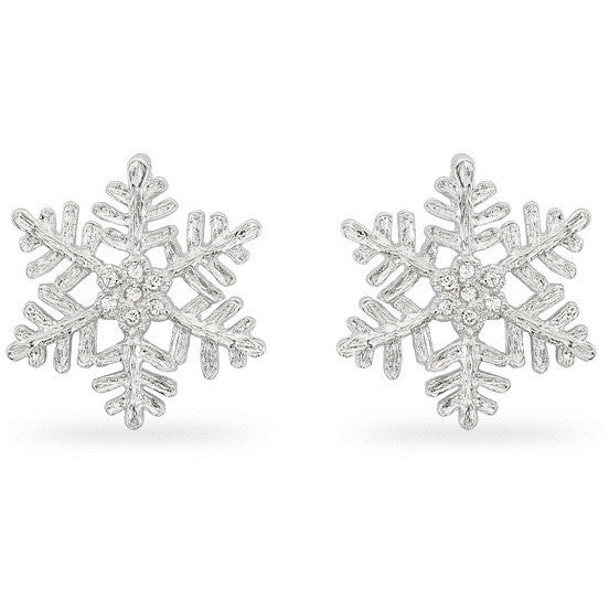Hannah 0.5ct CZ White Gold Rhodium Snowflake Stud Earrings