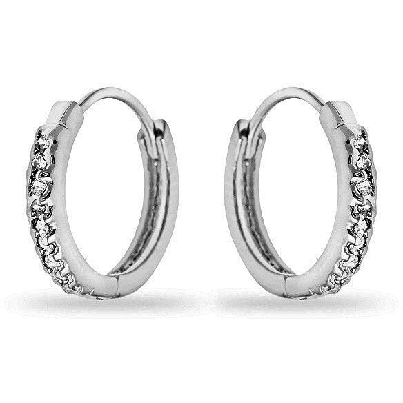 Missy 0.3ct CZ White Gold Rhodium Mini Hoop Earrings