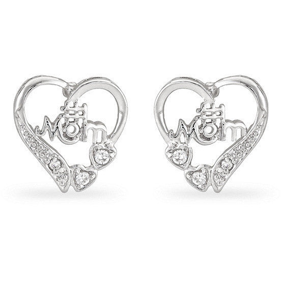 Clair 0.8 CZ White Gold Rhodium Mom Heart Earrings