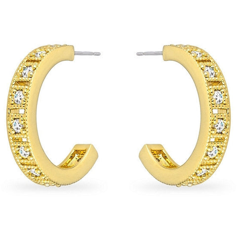 Alex 1.5ct CZ 14k Gold Hoop Earrings