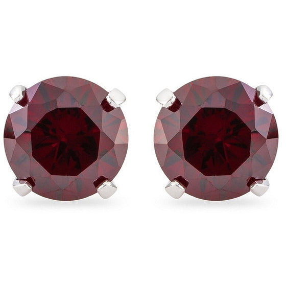 Dakota 5ct Ruby Crystal White Gold Rhodium Earrings