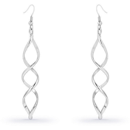 Calypso Illusion White Gold Rhodium Drop Earrings