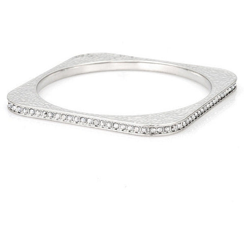Vivienne 11.5ct Clear White Gold Rhodium Square Bangle