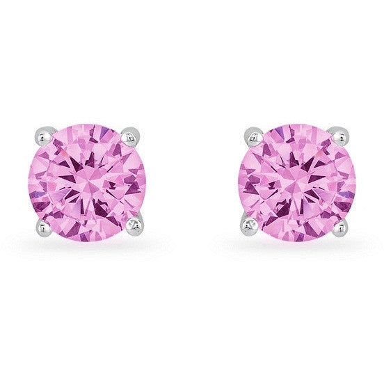 Rachael 2ct Pink CZ Sterling Silver Rhodium Stud Earrings