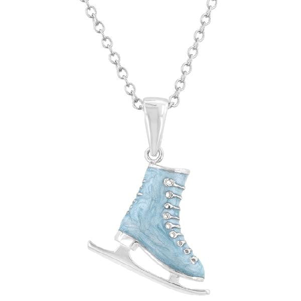 Ice Skate 0.2ct CZ White Gold Rhodium Enamel Pendant Necklace