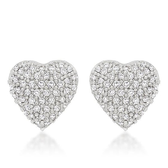 Paola 0.7ct CZ White Gold Rhodium Pave Heart Stud Earrings