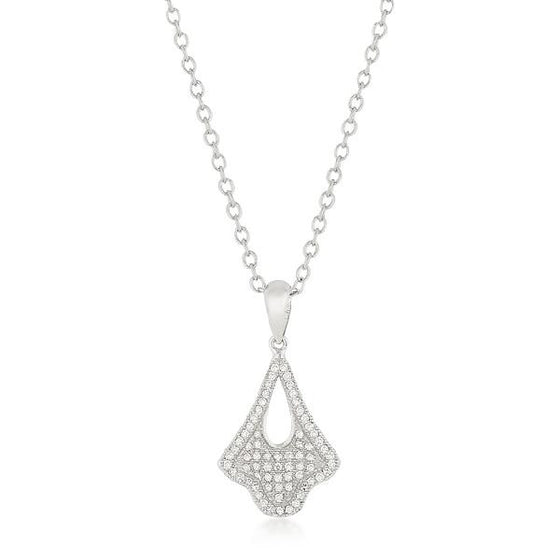Trina 0.6ct CZ White Gold Rhodium Tear Drop Dangle Pendant