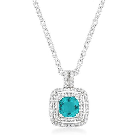 Ana 2.4ct Aqua CZ White Gold Rhodium Halo Stud Pendant
