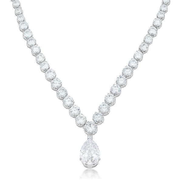 Bettina 20ct CZ White Gold Rhodium Bejeweled Pear Drop Necklace