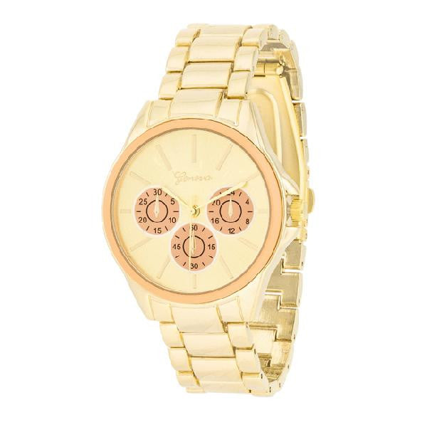 Beth 14k Gold Peach Chrono Metal Watch