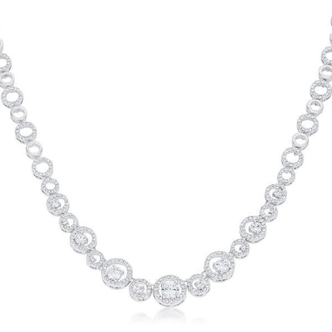 Gina 9.9ct CZ White Gold Rhodium Graduated Statement Necklace