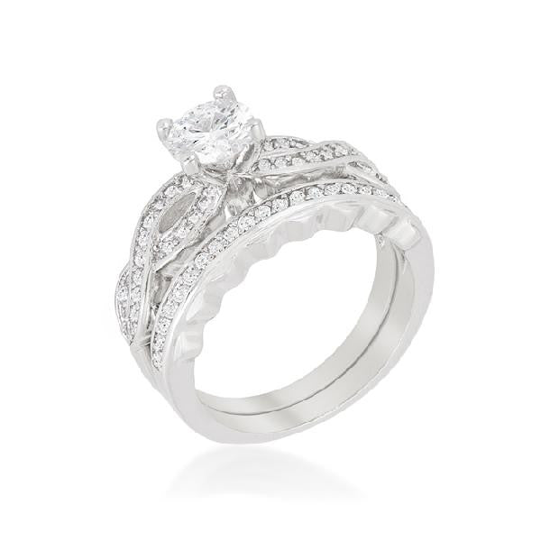 Imogen 1.5ct CZ White Gold Rhodium Bridal Set