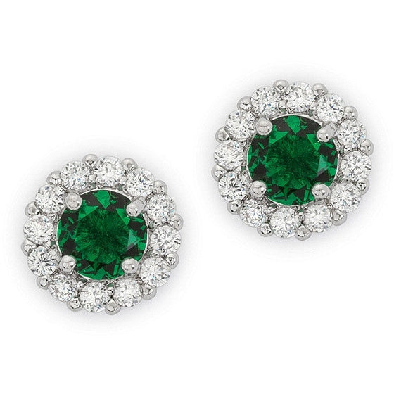 Emmelina 4.5ct Emerald CZ White Gold Rhodium Simple Stud Earrings