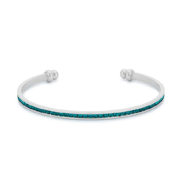 Bonnie 0.8ct Turquoise CZ White Gold Rhodium Channel Set Cuff