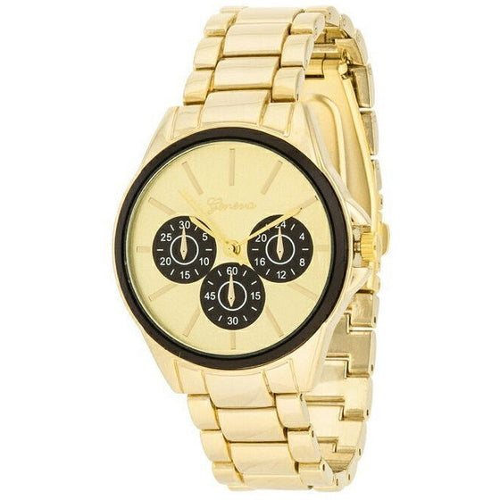 Beth 14k Gold Black Chrono Metal Watch