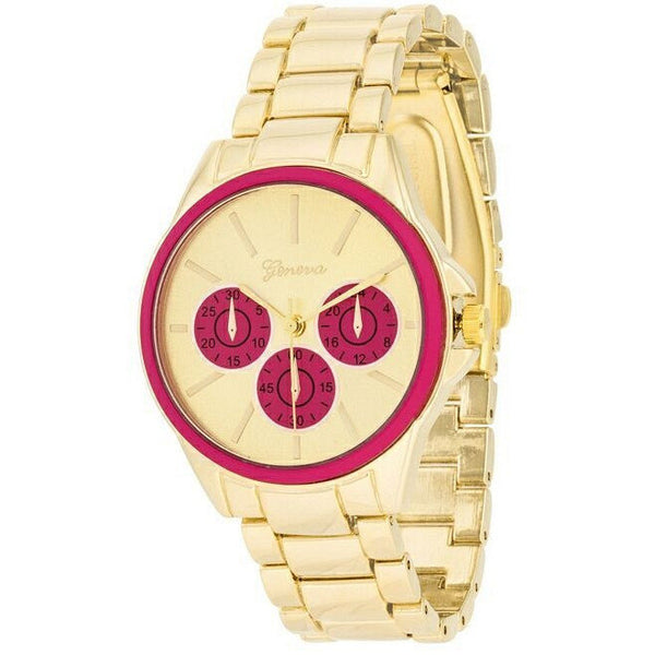 Beth 14k Gold Pink Chrono Metal Watch