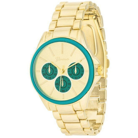 Beth 14k Gold Teal Chrono Metal Watch