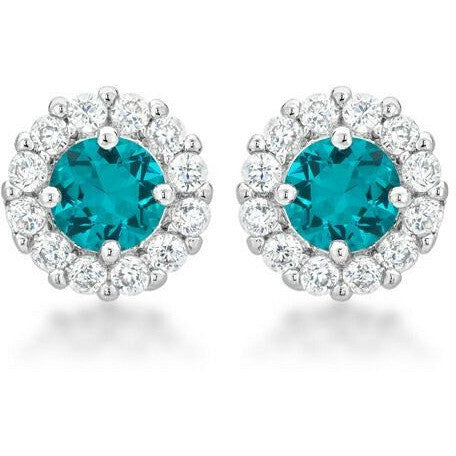 Emmelina 4.5ct Aqua CZ White Gold Rhodium Simple Stud Earrings