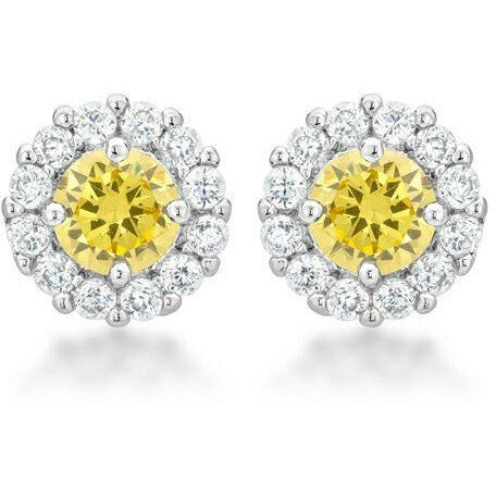 Emmelina 4.5ct Yellow CZ White Gold Rhodium Simple Stud Earrings