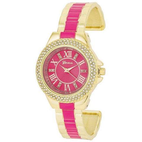 Bethany Crystal 14k Gold Pink Metal Cuff Watch