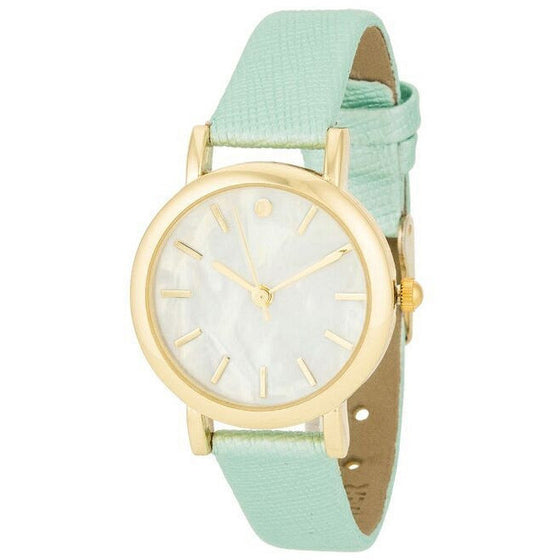 Natalie 14k Gold Mint Leather Watch