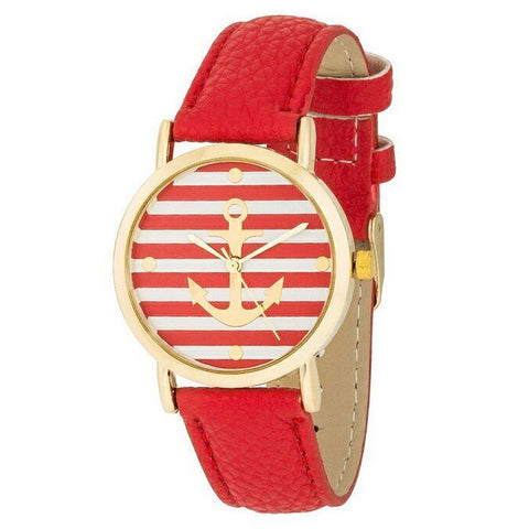 Sally Red Nautical 14k Gold Watch