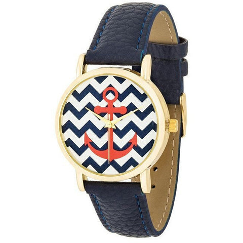 Betsy Navy Nautical Leather Watch