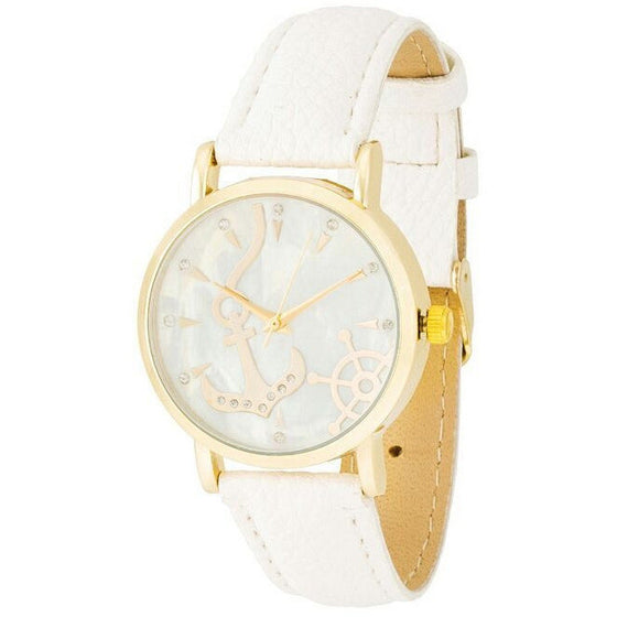 Molly Nautical White Leather Watch